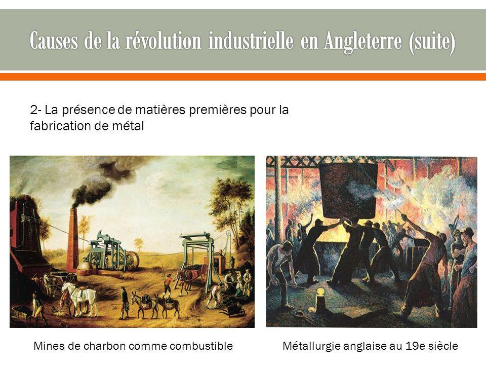 2- La présence de matières premières pour la fabrication de métal Mines de charbon comme combustibleMétallurgie anglaise au 19e siècle