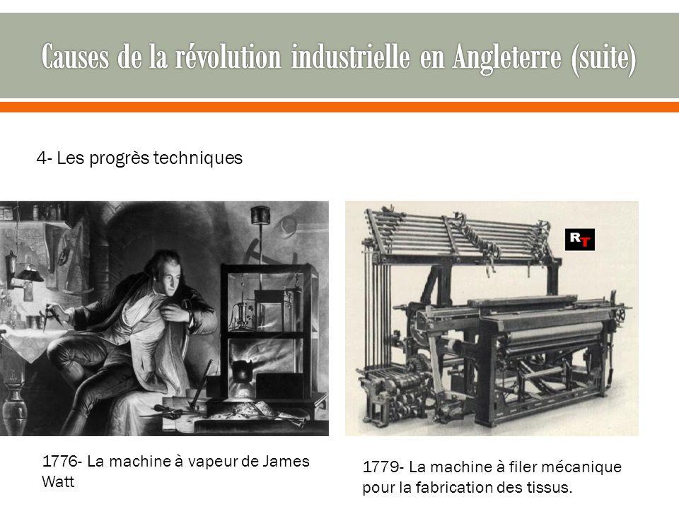 4- Les progrès techniques 1776- La machine à vapeur de James Watt 1779- La machine à filer mécanique pour la fabrication des tissus.