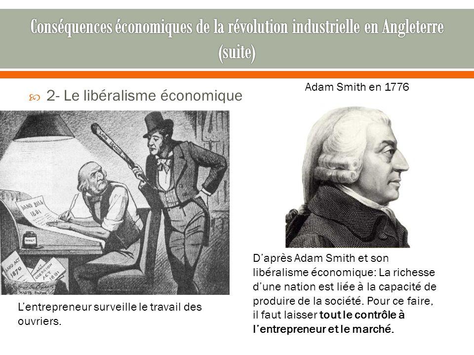  2- Le libéralisme économique Adam Smith en 1776 D'après Adam Smith et son libéralisme économique: La richesse d'une nation est liée à la capacité de produire de la société.