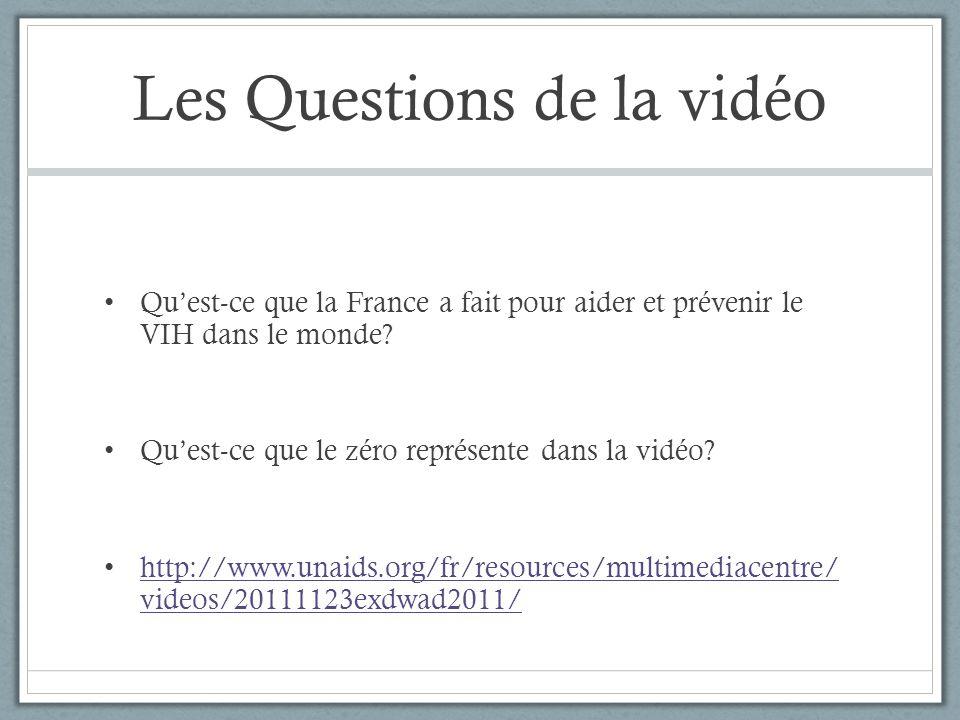Les Questions de la vidéo Qu'est-ce que la France a fait pour aider et prévenir le VIH dans le monde? Qu'est-ce que le zéro représente dans la vidéo?