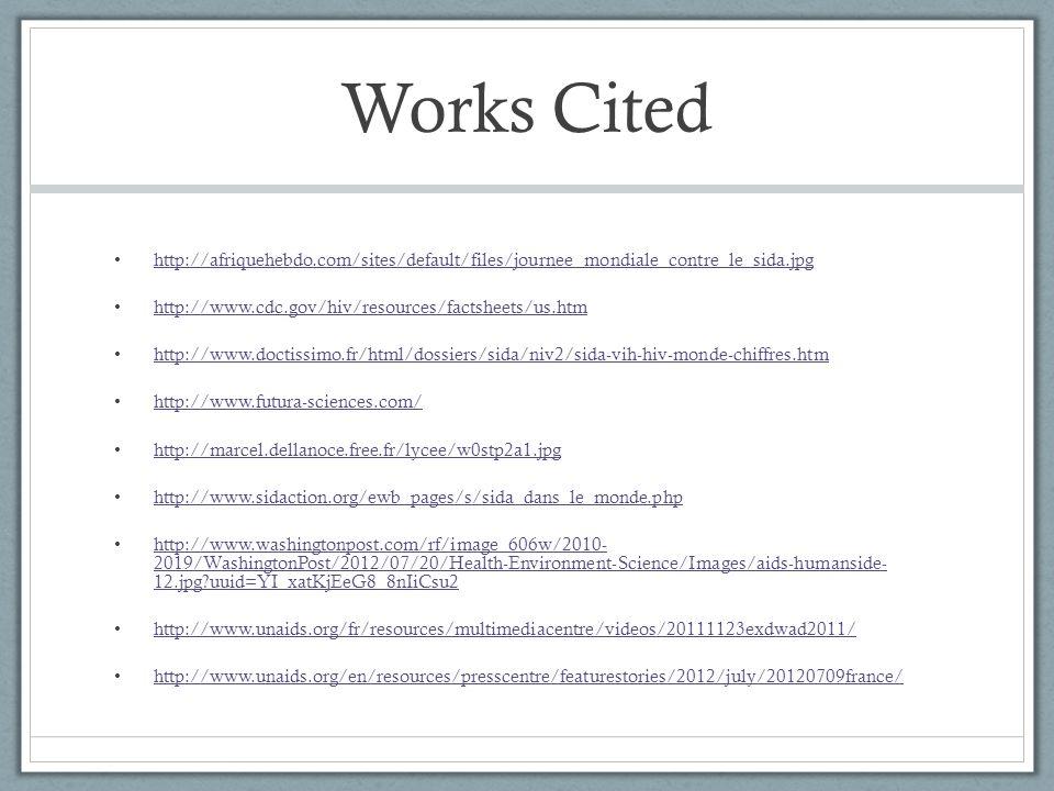 Works Cited http://afriquehebdo.com/sites/default/files/journee_mondiale_contre_le_sida.jpg http://www.cdc.gov/hiv/resources/factsheets/us.htm http://