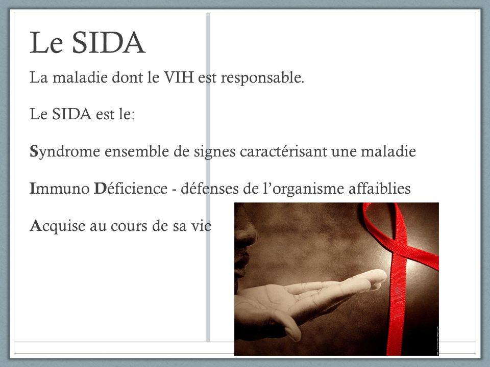 Le SIDA La maladie dont le VIH est responsable. Le SIDA est le: S yndrome ensemble de signes caractérisant une maladie I mmuno D éficience - défenses