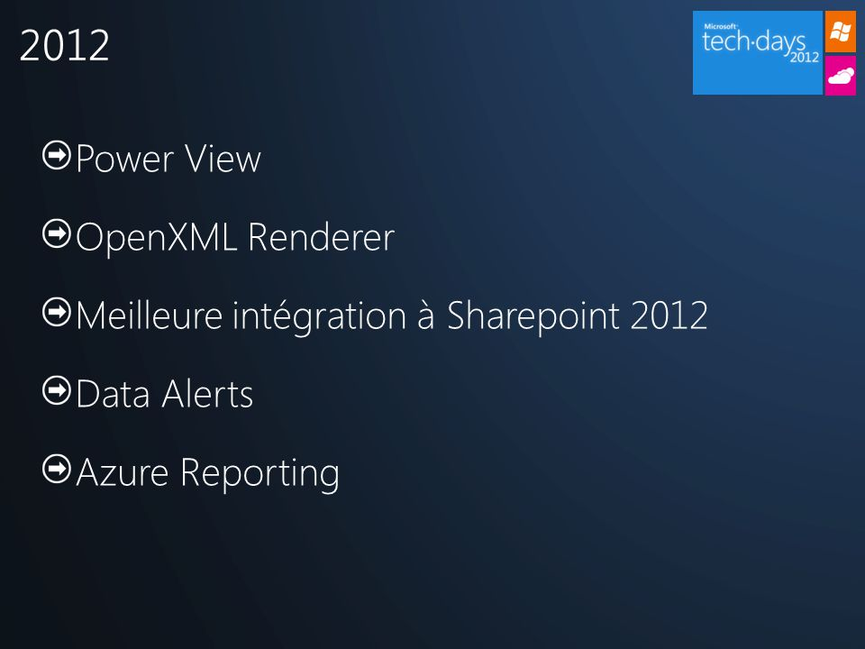 Power View OpenXML Renderer Meilleure intégration à Sharepoint 2012 Data Alerts Azure Reporting 2012