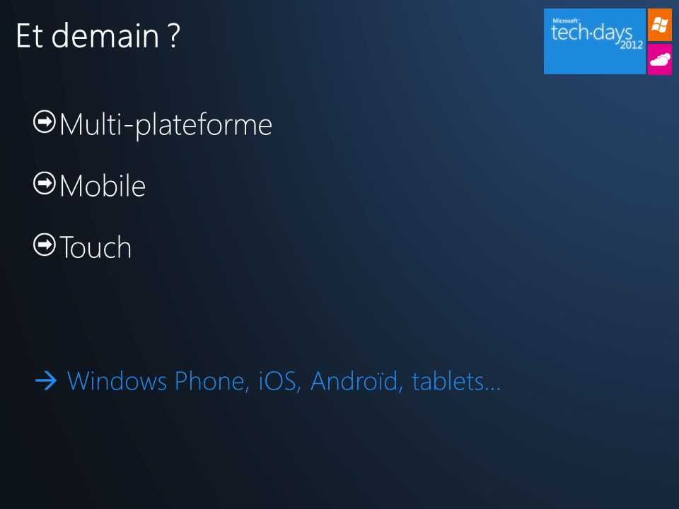 Multi-plateforme Mobile Touch  Windows Phone, iOS, Androïd, tablets… Et demain