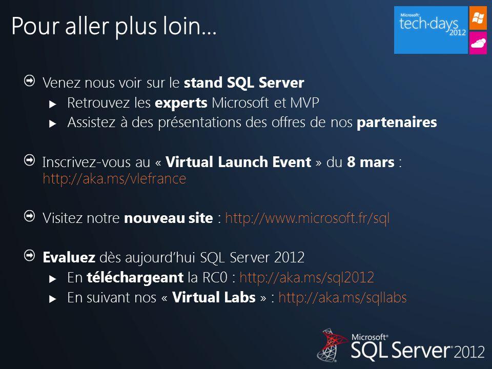 Pour aller plus loin… Venez nous voir sur le stand SQL Server  Retrouvez les experts Microsoft et MVP  Assistez à des présentations des offres de nos partenaires Inscrivez-vous au « Virtual Launch Event » du 8 mars : http://aka.ms/vlefrance Visitez notre nouveau site : http://www.microsoft.fr/sql Evaluez dès aujourd'hui SQL Server 2012  En téléchargeant la RC0 : http://aka.ms/sql2012  En suivant nos « Virtual Labs » : http://aka.ms/sqllabs