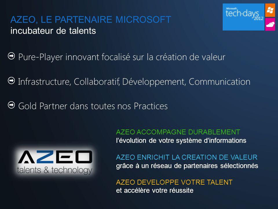 Pure-Player innovant focalisé sur la création de valeur Infrastructure, Collaboratif, Développement, Communication Gold Partner dans toutes nos Practices AZEO ACCOMPAGNE DURABLEMENT l'évolution de votre système d'informations AZEO ENRICHIT LA CREATION DE VALEUR grâce à un réseau de partenaires sélectionnés AZEO DEVELOPPE VOTRE TALENT et accélère votre réussite AZEO, LE PARTENAIRE MICROSOFT incubateur de talents