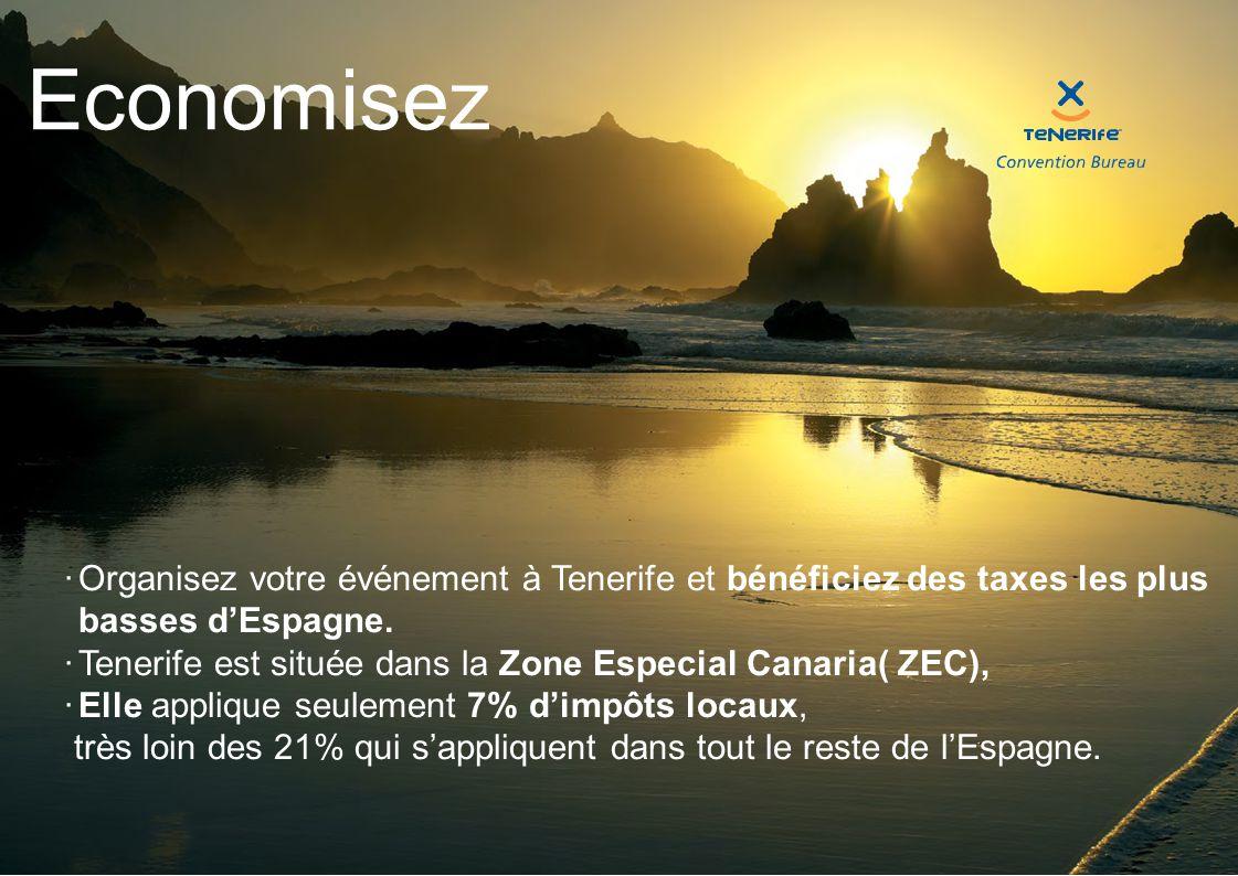 Economisez  Organisez votre événement à Tenerife et bénéficiez des taxes les plus basses d'Espagne.