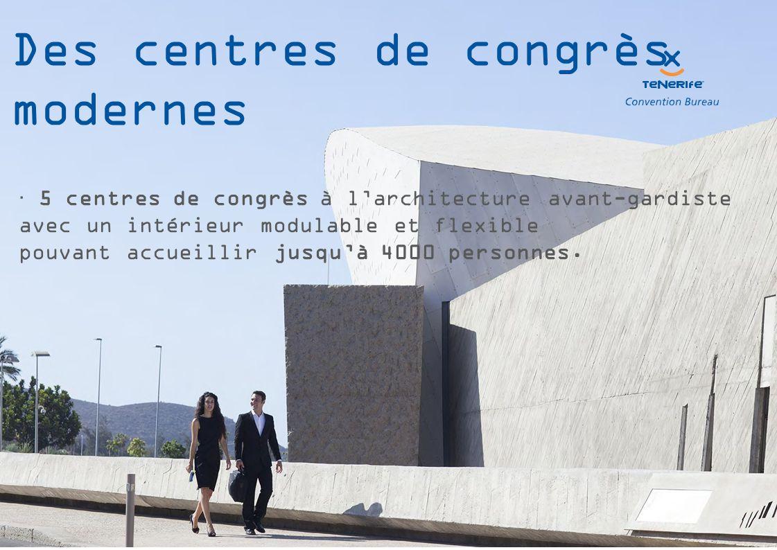  5 centres de congrès à l'architecture avant-gardiste avec un intérieur modulable et flexible pouvant accueillir jusqu'à 4000 personnes.