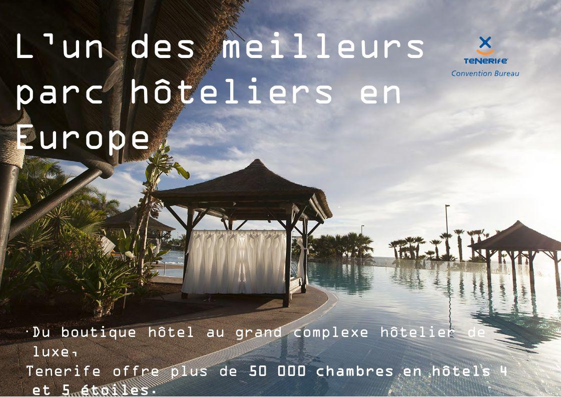 L'un des meilleurs parc hôteliers en Europe  Du boutique hôtel au grand complexe hôtelier de luxe, Tenerife offre plus de 50 000 chambres en hôtels 4 et 5 étoiles.