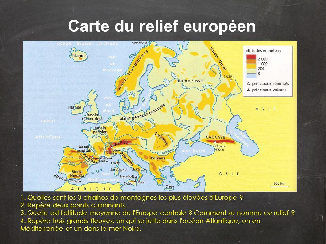Carte du relief européen 1. Quelles sont les 3 chaînes de montagnes les plus élevées d'Europe ? 2. Repère deux points culminants. 3. Quelle est l'alti
