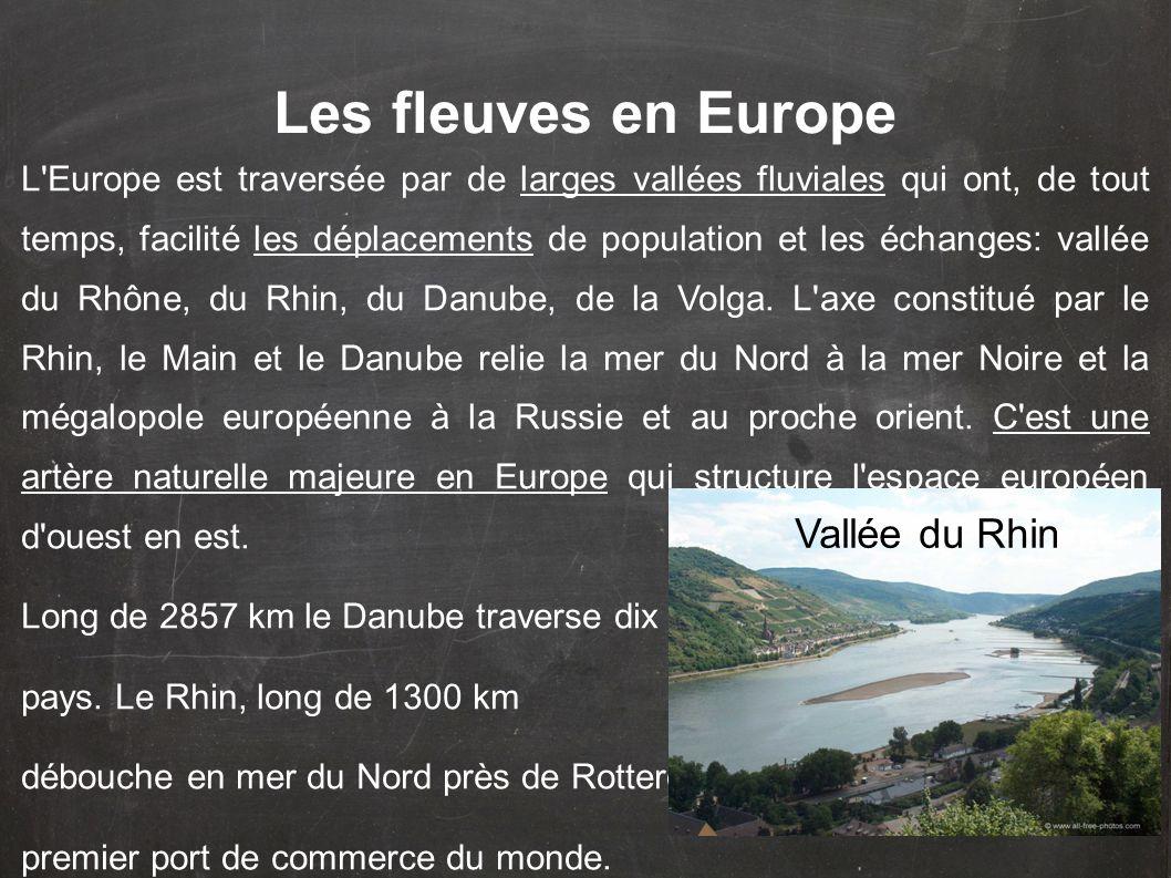 L'Europe est traversée par de larges vallées fluviales qui ont, de tout temps, facilité les déplacements de population et les échanges: vallée du Rhôn