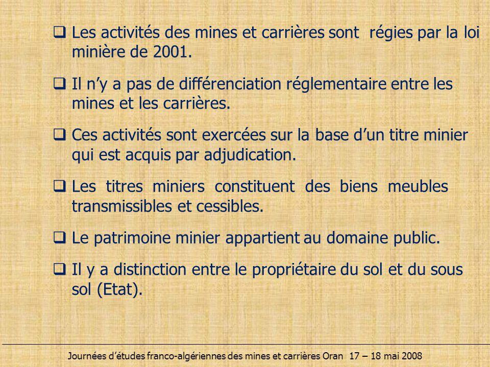  Exploitation industrielle  Petite et moyenne exploitation  Exploitation artisanale  Activité de ramassage  Exploitation de carrières et de sablières −Une redevance est perçue par l'état −Une étude d'impact des effets de l'activité minière sur l'environnement est obligatoire Journées d'études franco-algériennes des mines et carrières Oran 17 – 18 mai 2008