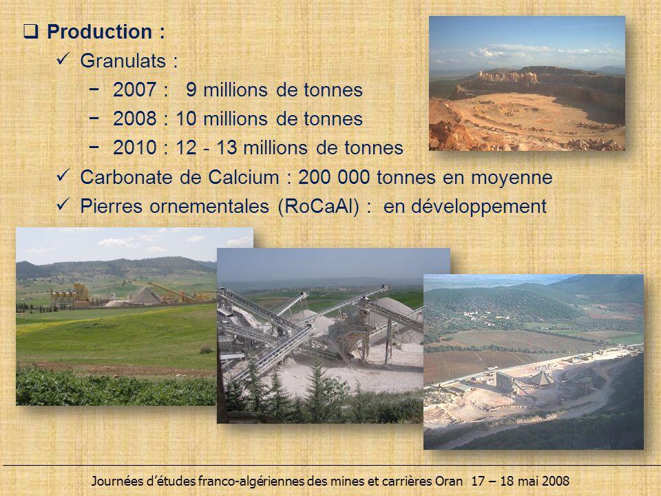  Production : Granulats : −2007 : 9 millions de tonnes −2008 : 10 millions de tonnes −2010 : 12 - 13 millions de tonnes Carbonate de Calcium : 200 00
