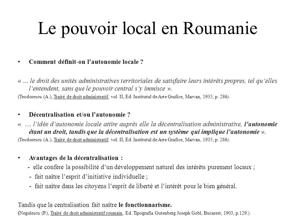 Le pouvoir local en Roumanie Comment définit-on l'autonomie locale .
