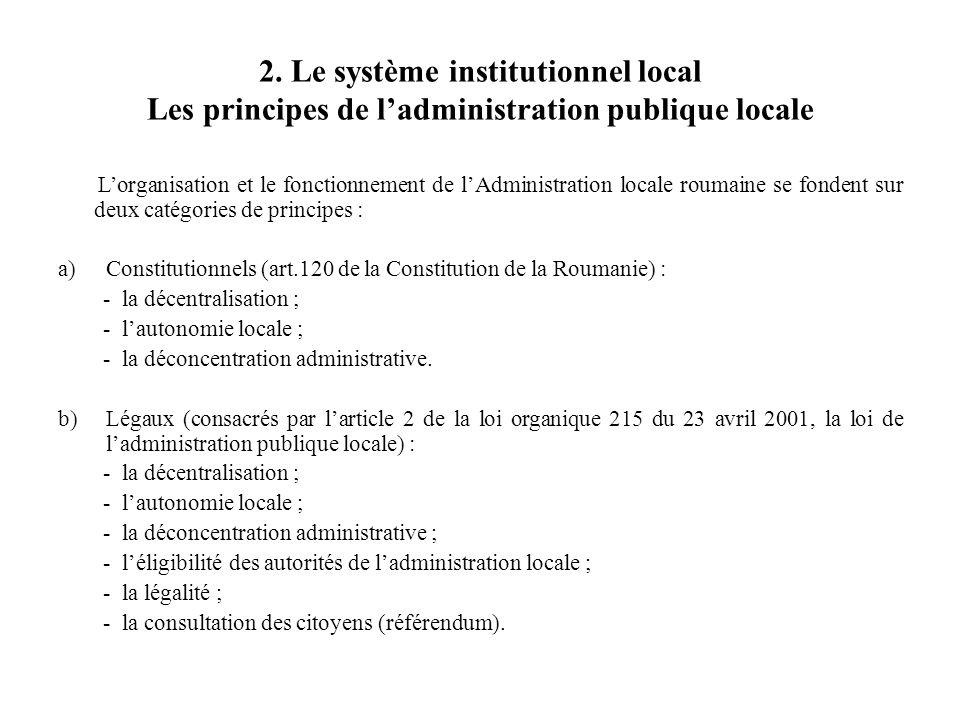 2. Le système institutionnel local Les principes de l'administration publique locale L'organisation et le fonctionnement de l'Administration locale ro