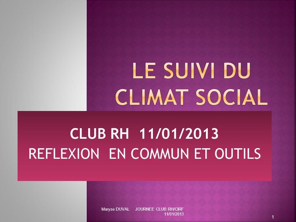 CLUB RH 11/01/2013 REFLEXION EN COMMUN ET OUTILS 1 Maryse DUVAL JOURNEE CLUB RH/CIRF 11/01/2013