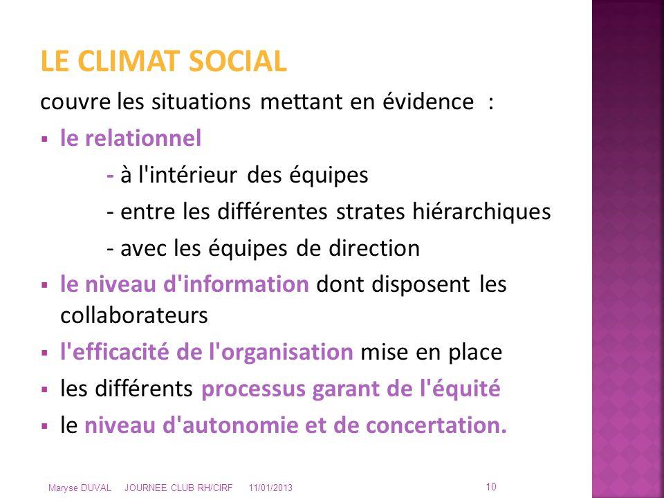 LE CLIMAT SOCIAL couvre les situations mettant en évidence :  le relationnel - à l'intérieur des équipes - entre les différentes strates hiérarchique