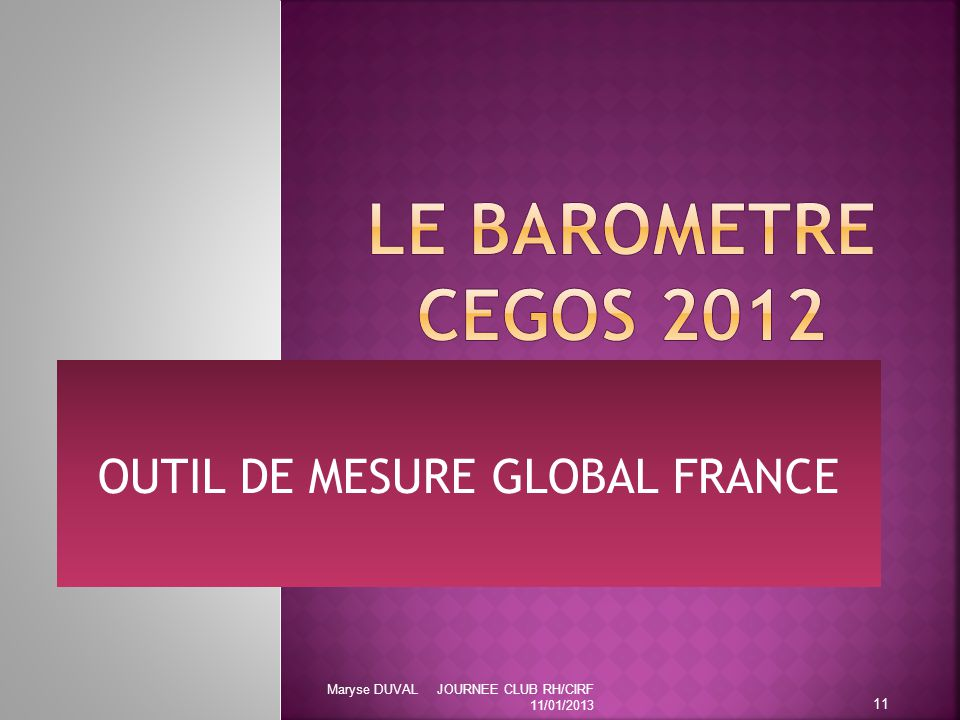 OUTIL DE MESURE GLOBAL FRANCE 11 Maryse DUVAL JOURNEE CLUB RH/CIRF 11/01/2013