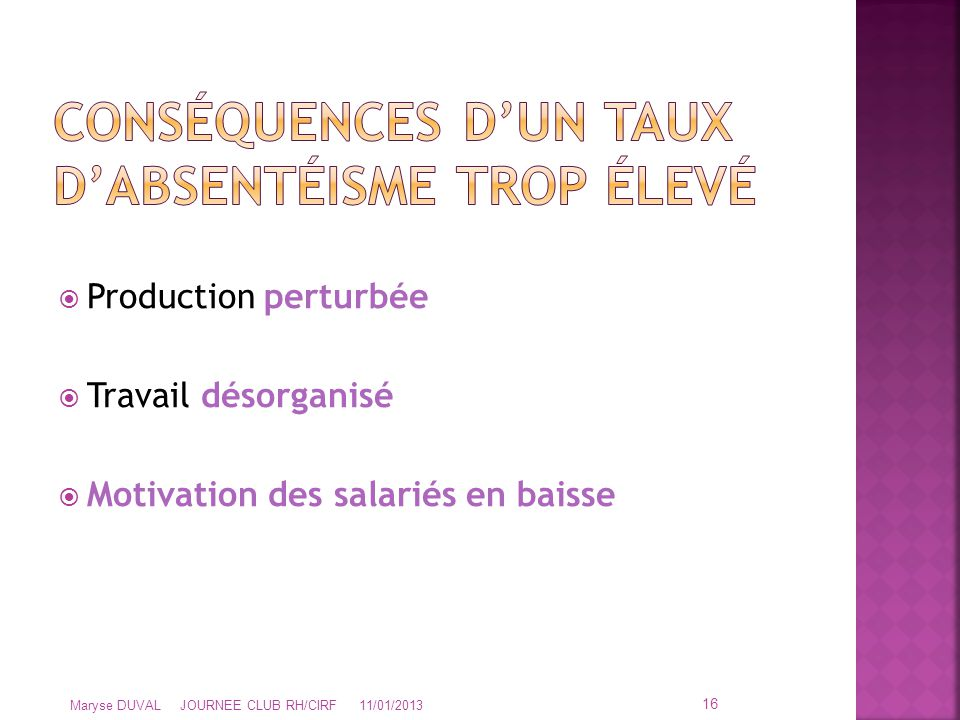  Production perturbée  Travail désorganisé  Motivation des salariés en baisse 16 Maryse DUVAL JOURNEE CLUB RH/CIRF 11/01/2013