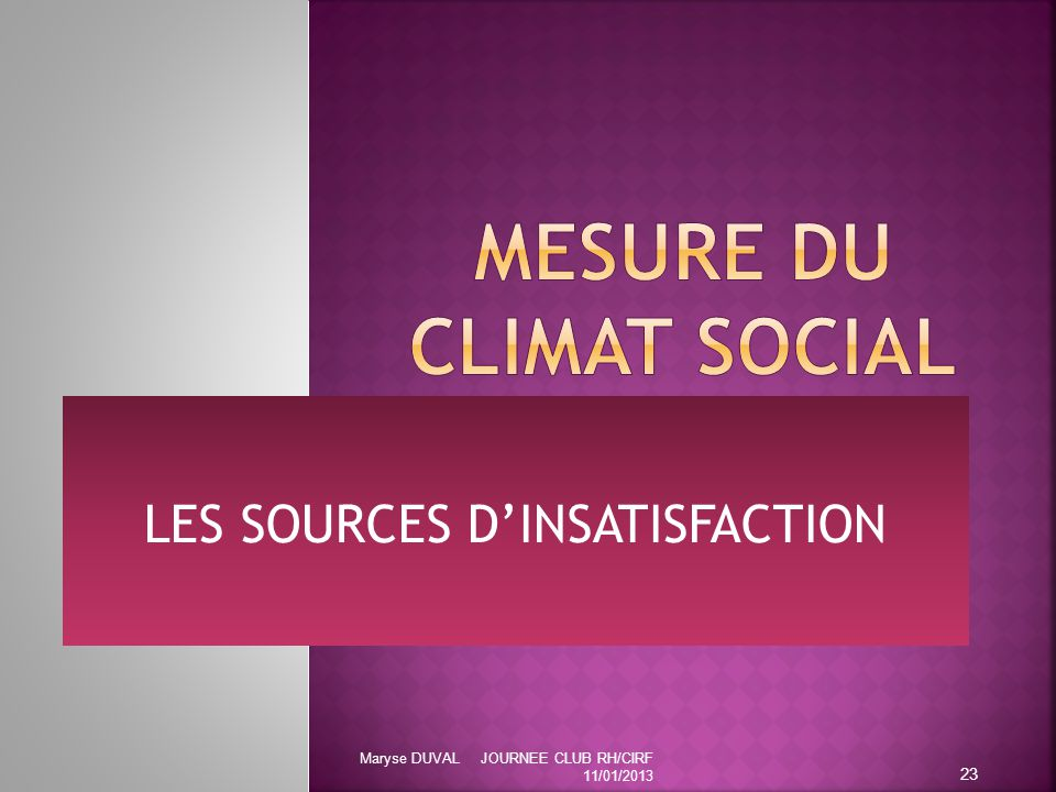 LES SOURCES D'INSATISFACTION 23 Maryse DUVAL JOURNEE CLUB RH/CIRF 11/01/2013