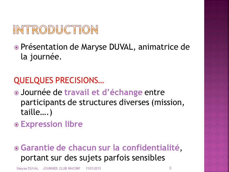  Présentation de Maryse DUVAL, animatrice de la journée. QUELQUES PRECISIONS…  Journée de travail et d'échange entre participants de structures dive