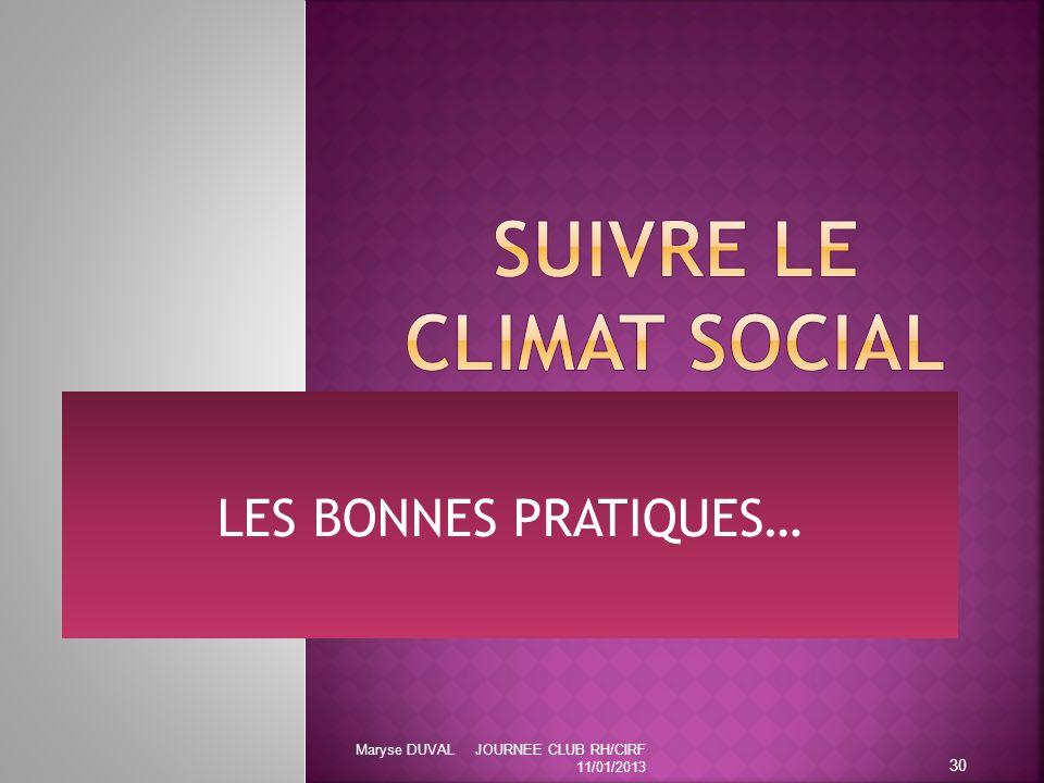 LES BONNES PRATIQUES… 30 Maryse DUVAL JOURNEE CLUB RH/CIRF 11/01/2013