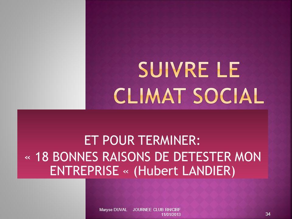 ET POUR TERMINER: « 18 BONNES RAISONS DE DETESTER MON ENTREPRISE « (Hubert LANDIER) 34 Maryse DUVAL JOURNEE CLUB RH/CIRF 11/01/2013