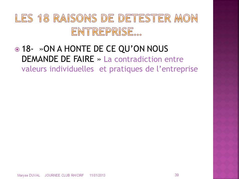  18- »ON A HONTE DE CE QU'ON NOUS DEMANDE DE FAIRE » La contradiction entre valeurs individuelles et pratiques de l'entreprise 39 Maryse DUVAL JOURNE