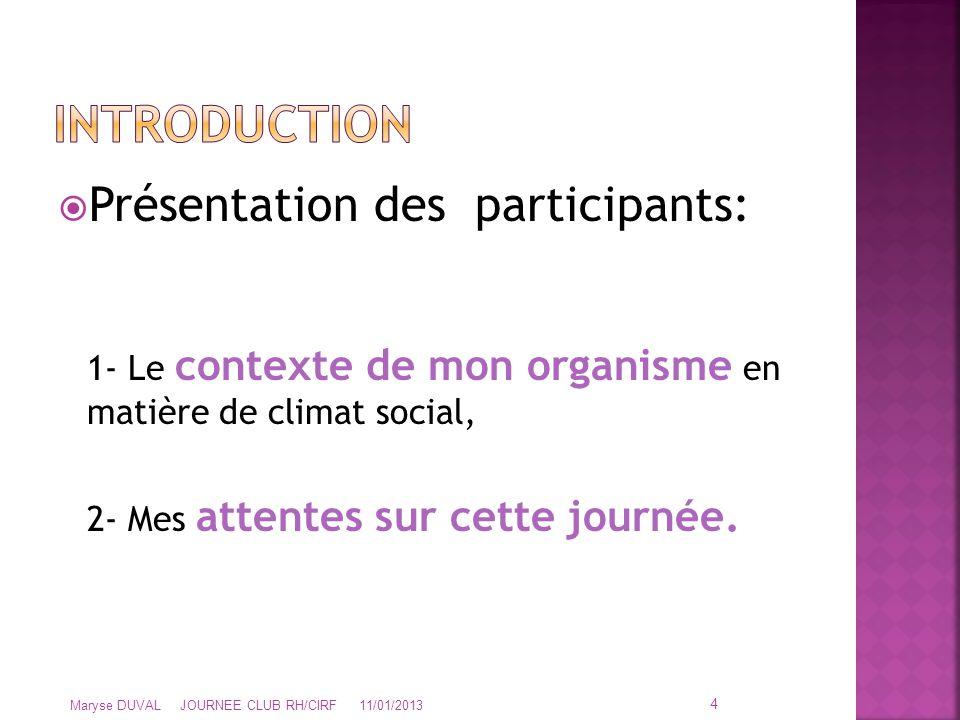 Présentation des participants: 1- Le contexte de mon organisme en matière de climat social, 2- Mes attentes sur cette journée. 4 Maryse DUVAL JOURNE