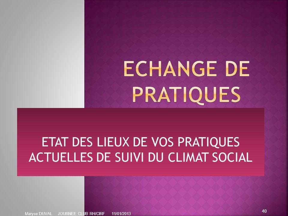 ETAT DES LIEUX DE VOS PRATIQUES ACTUELLES DE SUIVI DU CLIMAT SOCIAL 40 Maryse DUVAL JOURNEE CLUB RH/CIRF 11/01/2013
