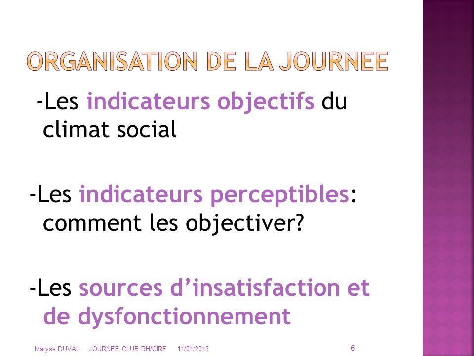 -Les indicateurs objectifs du climat social -Les indicateurs perceptibles: comment les objectiver? -Les sources d'insatisfaction et de dysfonctionneme