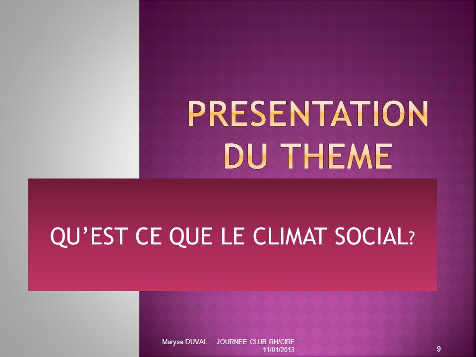 QU'EST CE QUE LE CLIMAT SOCIAL ? 9 Maryse DUVAL JOURNEE CLUB RH/CIRF 11/01/2013