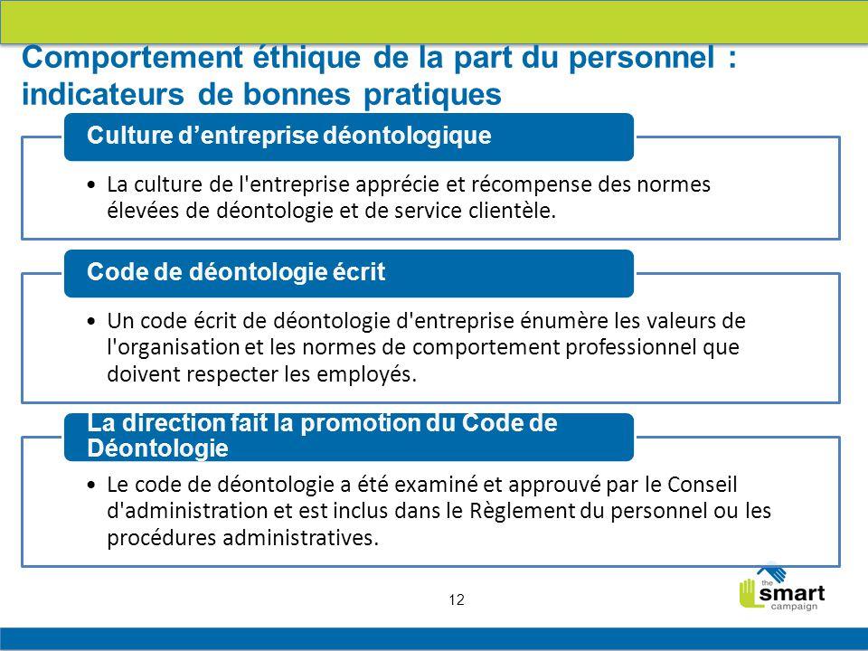 12 La culture de l entreprise apprécie et récompense des normes élevées de déontologie et de service clientèle.