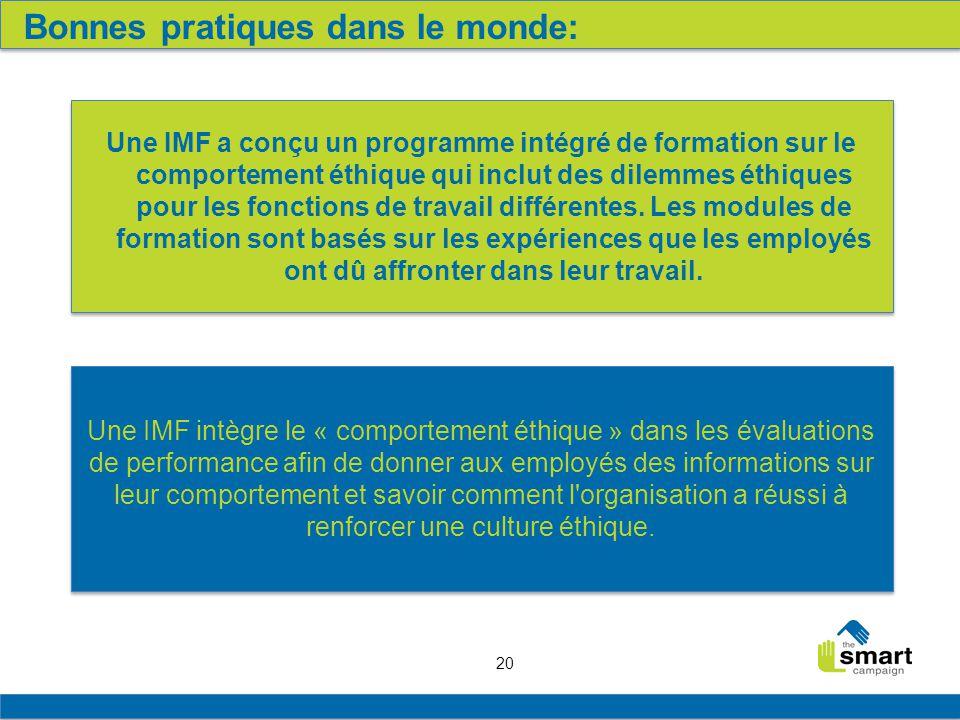 20 Bonnes pratiques dans le monde: Une IMF a conçu un programme intégré de formation sur le comportement éthique qui inclut des dilemmes éthiques pour les fonctions de travail différentes.