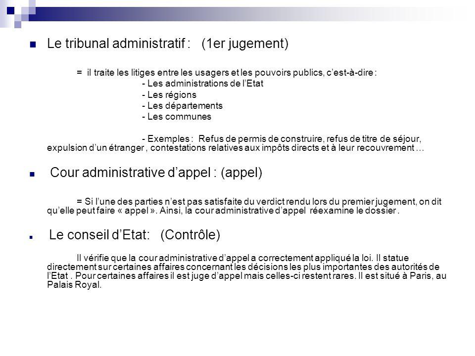 Tribunal administratif Cour Administrative d'appel Conseil d'Etat