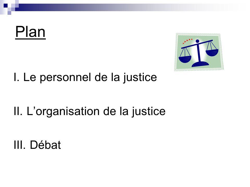 Plan I. Le personnel de la justice II. L'organisation de la justice III. Débat