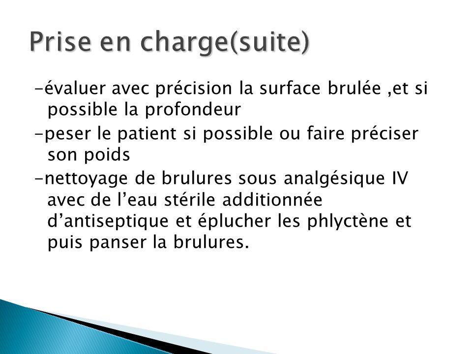 -évaluer avec précision la surface brulée,et si possible la profondeur -peser le patient si possible ou faire préciser son poids -nettoyage de brulure