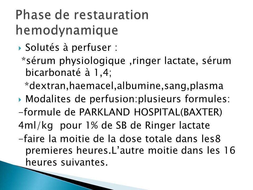 *1ml/kg pour 1%de SB de colloides(hemacel,dextran,albumine,sang,pl asma)+ *1ml/kg pour 1%de SB de serum sale ou ringer lactate)+ *besoins hydriques et metaboliques basaux(chez l'adulte 2l,chez l'enfant 1l) de serum glucosé 5%) NB:administrer la moitie de l'apport total dans les 8 premieres heures,et le reste dans les 16 heures restantes.