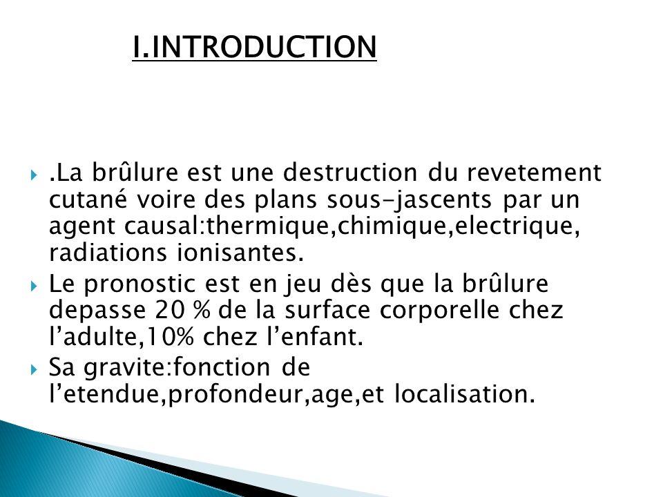 I.INTRODUCTION .La brûlure est une destruction du revetement cutané voire des plans sous-jascents par un agent causal:thermique,chimique,electrique,