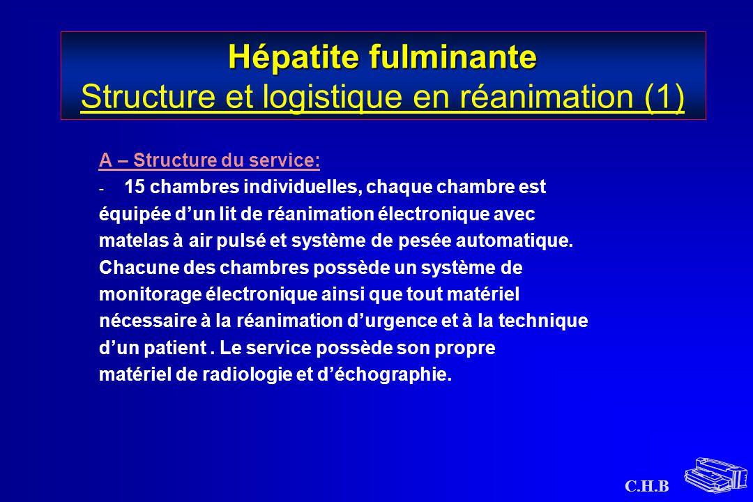 C.H.B Hépatite fulminante Hépatite fulminante Structure et logistique en réanimation (1) A – Structure du service: - 15 chambres individuelles, chaque