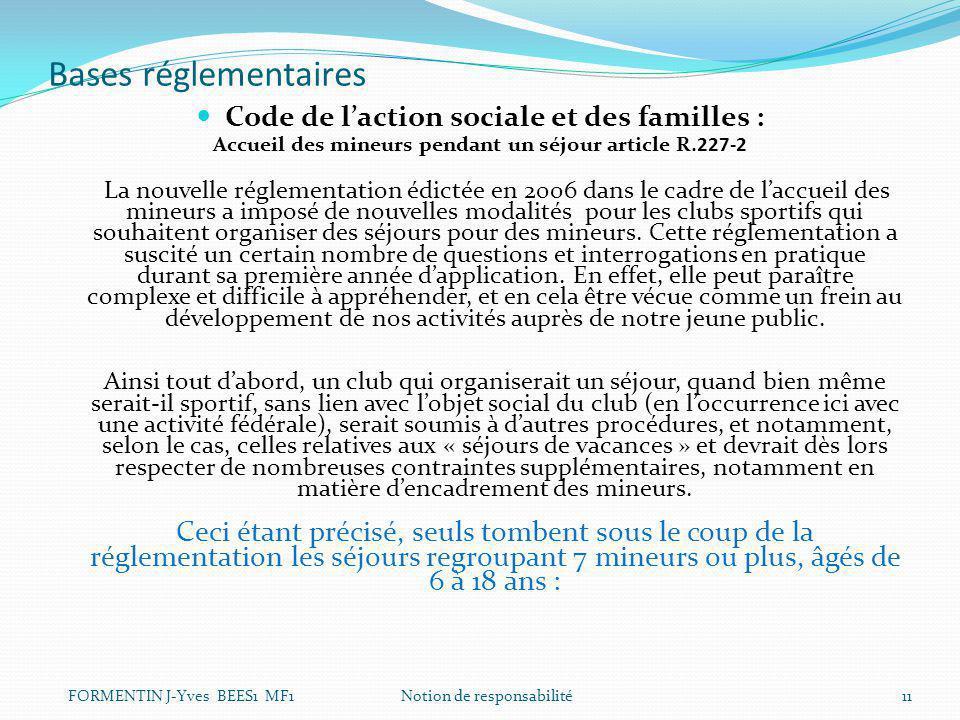 Bases réglementaires Code de l'action sociale et des familles : Accueil des mineurs pendant un séjour article R.227-2 La nouvelle réglementation édict