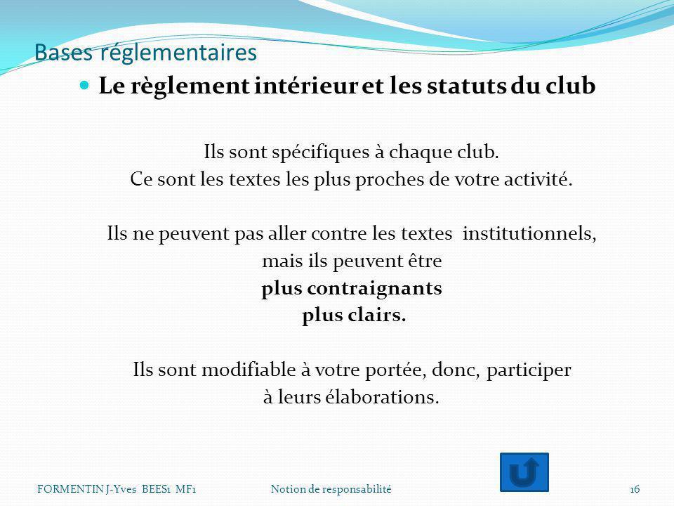 Bases réglementaires Le règlement intérieur et les statuts du club Ils sont spécifiques à chaque club. Ce sont les textes les plus proches de votre ac