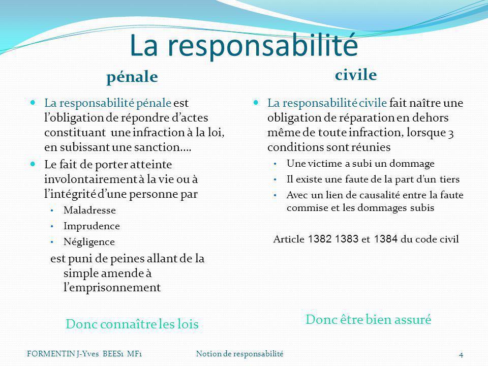 La responsabilité pénale civile La responsabilité pénale est l'obligation de répondre d'actes constituant une infraction à la loi, en subissant une sa