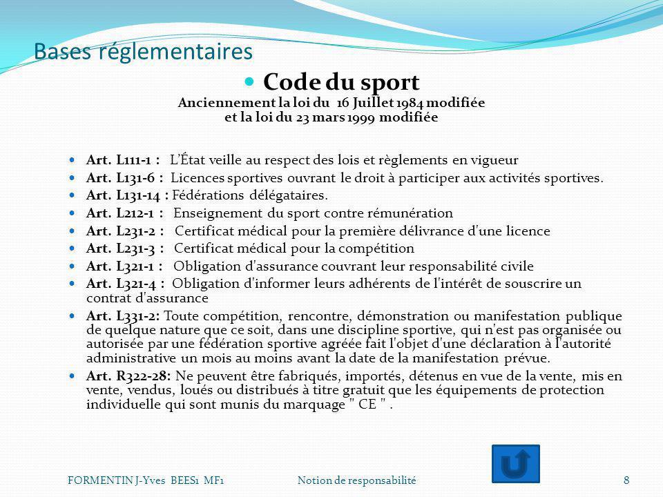 Bases réglementaires Code du sport Anciennement la loi du 16 Juillet 1984 modifiée et la loi du 23 mars 1999 modifiée Art. L111-1 : L'État veille au r
