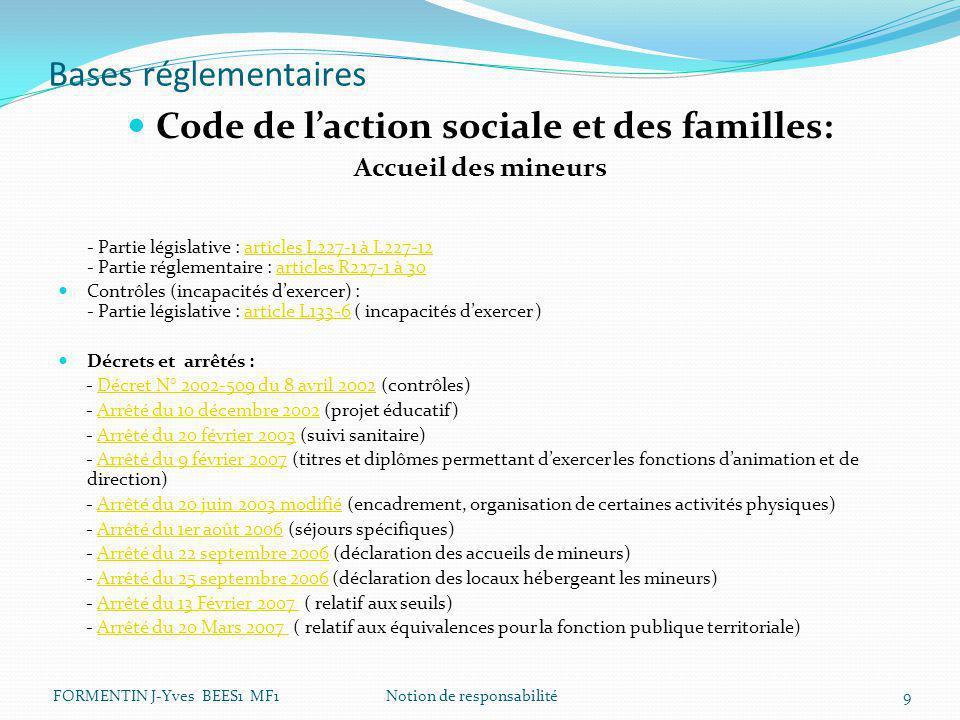Bases réglementaires Code de l'action sociale et des familles: Accueil des mineurs - Partie législative : articles L227-1 à L227-12 - Partie réglement