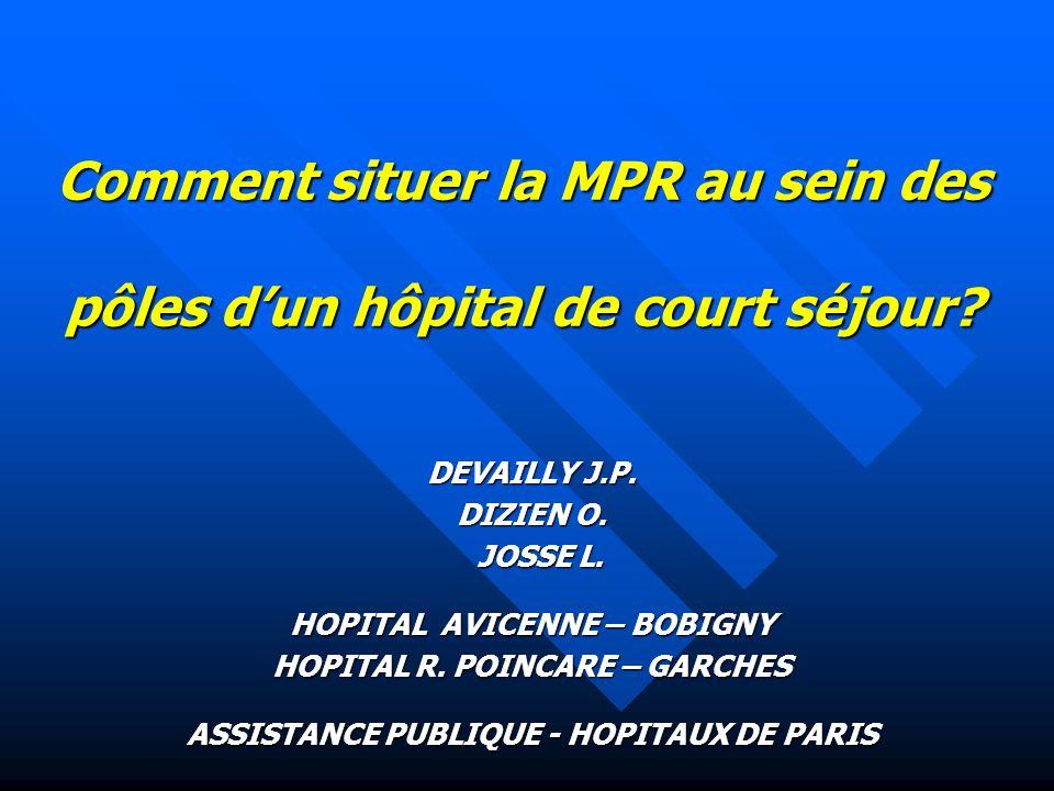 Comment situer la MPR au sein des pôles d'un hôpital de court séjour? DEVAILLY J.P. DIZIEN O. JOSSE L. JOSSE L. HOPITAL AVICENNE – BOBIGNY HOPITAL R.