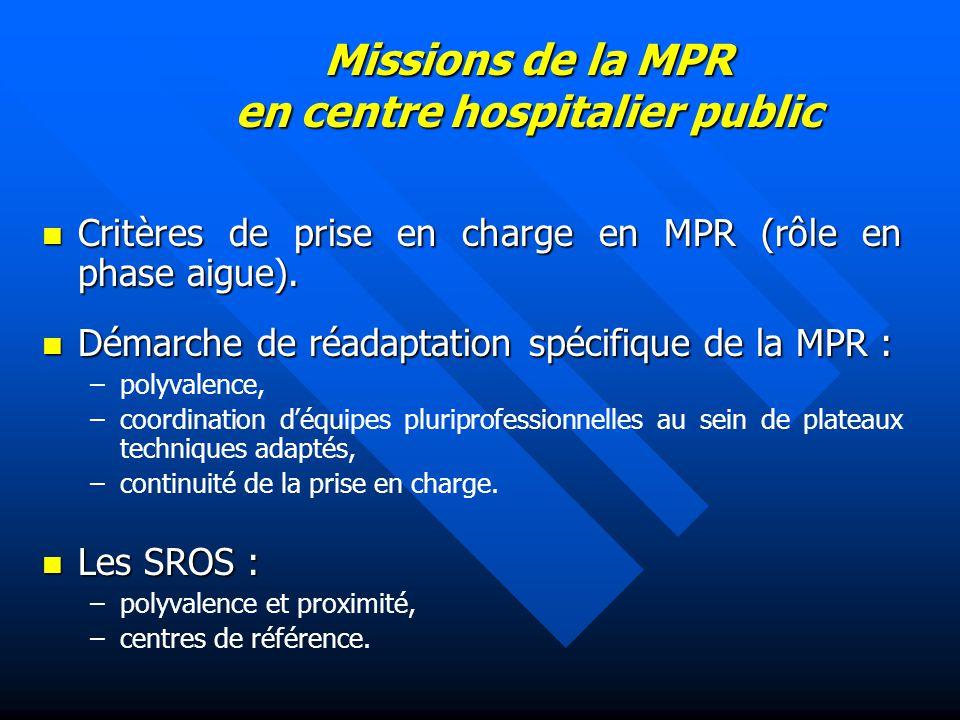 Missions de la MPR en centre hospitalier public Critères de prise en charge en MPR (rôle en phase aigue). Critères de prise en charge en MPR (rôle en