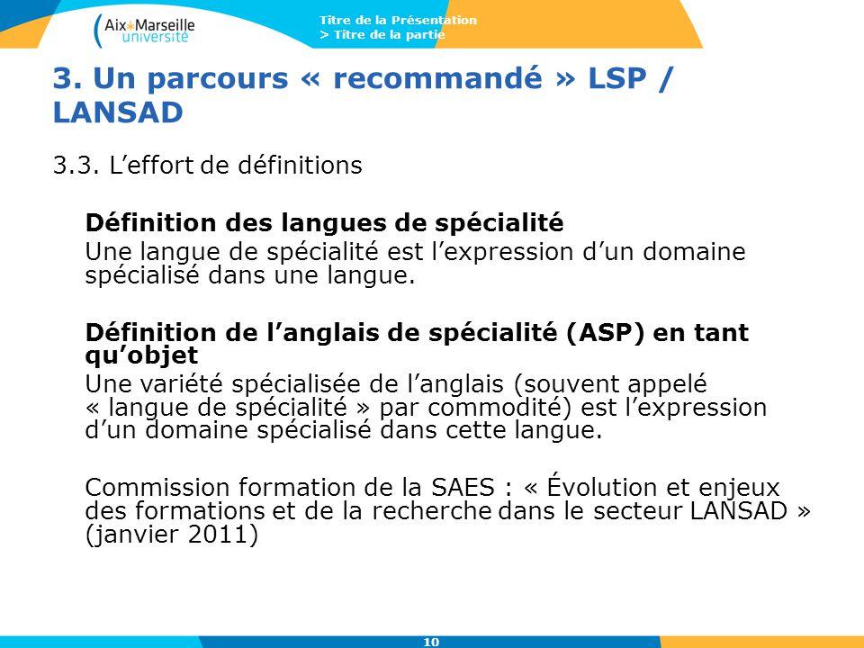 Titre de la Présentation > Titre de la partie 10 3. Un parcours « recommandé » LSP / LANSAD 3.3. L'effort de définitions Définition des langues de spé