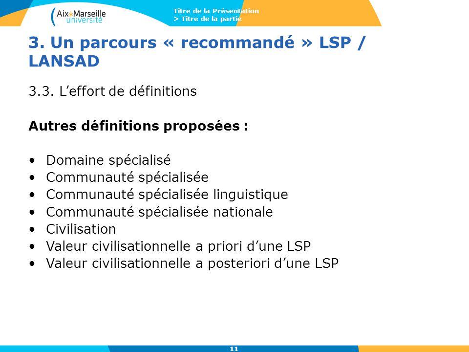Titre de la Présentation > Titre de la partie 11 3. Un parcours « recommandé » LSP / LANSAD 3.3. L'effort de définitions Autres définitions proposées