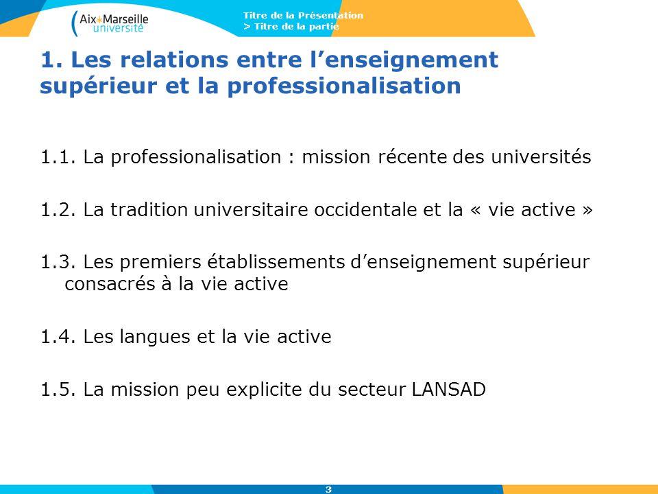 Titre de la Présentation > Titre de la partie 3 1. Les relations entre l'enseignement supérieur et la professionalisation 1.1. La professionalisation